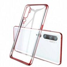 Skaidrus dėklas su spalvotu rėmeliu TPU Electroplating Xiaomi Mi Note 10 / Mi Note 10 Pro / Mi CC9 Pro raudonas