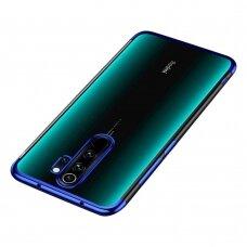 Skaidrus dėklas su spalvotu rėmeliu TPU Electroplating Xiaomi mi Note 8 Pro mėlynas