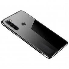 Skaidrus dėklas su spalvotu rėmeliu TPU Electroplating Xiaomi mi Note 8T juodas (ctz011)