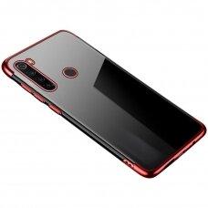 Skaidrus dėklas su spalvotu rėmeliu TPU Electroplating Xiaomi mi Note 8T raudonas (ctz011)
