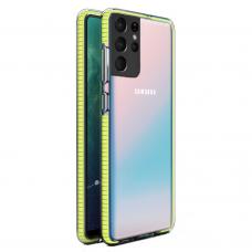 """SKAIDRUS TPU DĖKLAS SU SPALVOTU RĖMU """"SPRING CASE""""  Samsung Galaxy S21 Ultra 5G geltonas"""