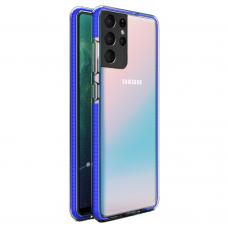 """SKAIDRUS TPU DĖKLAS SU SPALVOTU RĖMU """"SPRING CASE""""  Samsung Galaxy S21 Ultra 5G tamsiai mėlynas"""