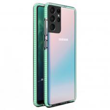 """SKAIDRUS TPU DĖKLAS SU SPALVOTU RĖMU """"SPRING CASE""""  Samsung Galaxy S21 Ultra 5G mėtinis"""