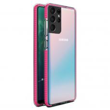 """SKAIDRUS TPU DĖKLAS SU SPALVOTU RĖMU """"SPRING CASE"""" Samsung Galaxy S21 Ultra 5G rožinis"""