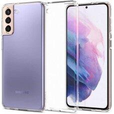 Aukštos kokybės dėklas Spigen Liquid Crystal Galaxy S21+ Plus skaidrus