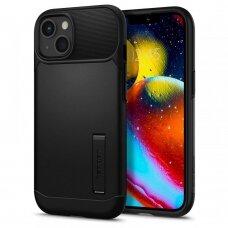 Aukštos kokybės dėklas Spigen Slim Armor case cover for iPhone 13 mini kickstand Juodas