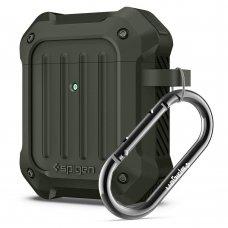 Aukštos Kokybės Apsauginis Dėklas Spigen Tough Armor Apple Airpods Military Žalias