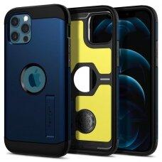 Aukštos kokybės dėklas Spigen Tough Armor Iphone 12/12 Pro Tamsiai mėlynas