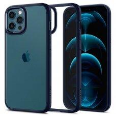 Aukštos kokybės Spigen Ultra Hybrid dėklas Iphone 12/12 Pro skaidrus mėlynais kraštais
