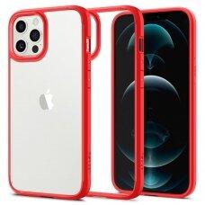 Aukštos kokybės Spigen Ultra Hybrid dėklas Iphone 12/12 Pro skaidrus raudonais kraštais