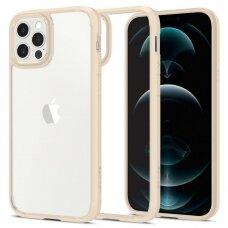 Aukštos kokybės Spigen Ultra Hybrid dėklas Iphone 12/12 Pro skaidrus kreminiais kraštais
