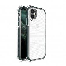 Dėklas Sutvirtintais Kampais Spring Armor clear TPU iPhone 11 Žaliais Kraštais