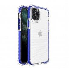 Dėklas Sutvirtintais Kampais Spring Armor clear TPU iPhone 11 Pro Mėlynais Kraštais