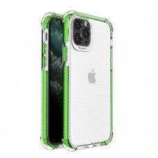 Dėklas Sutvirtintais Kampais Spring Armor clear TPU iPhone 11 Pro Žaliais Kraštais