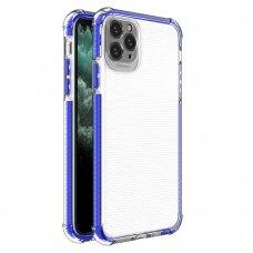 Dėklas Sutvirtintais Kampais Spring Armor clear TPU iPhone 11 Pro Max Mėlynais Kraštais