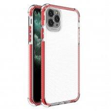 Dėklas Sutvirtintais Kampais Spring Armor clear TPU iPhone 11 Pro Max Raudonais Kraštais