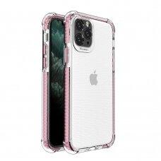 Dėklas Sutvirtintais Kampais Spring Armor clear TPU iPhone 11 Pro Rožiniais Kraštais