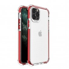 Dėklas Sutvirtintais Kampais Spring Armor clear TPU iPhone 11 Pro Raudonais Kraštais