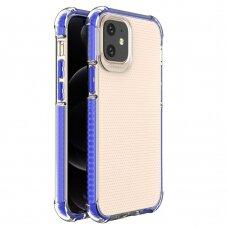Dėklas Sutvirtintais Kampais Spring Armor clear TPU iPhone 12 mini Mėlynais Kraštais