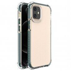 Dėklas Sutvirtintais Kampais Spring Armor clear TPU iPhone 12 mini Žaliais Kraštais