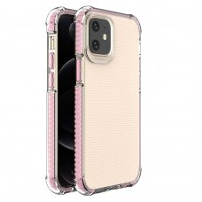 Dėklas Sutvirtintais Kampais Spring Armor clear TPU iPhone 12 mini Rožiniais Kraštais