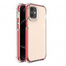Dėklas Sutvirtintais Kampais Spring Armor clear TPU iPhone 12 mini Raudonais Kraštais