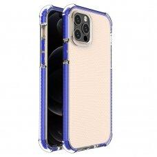 Dėklas Sutvirtintais Kampais Spring Armor clear TPU iPhone 12 Pro / iPhone 12 Mėlynais Kraštais