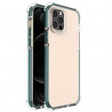Dėklas Sutvirtintais Kampais Spring Armor clear TPU iPhone 12 Pro / iPhone 12 Žaliais Kraštais