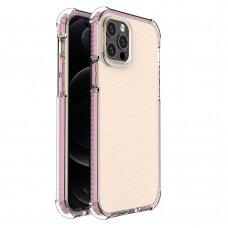 Dėklas Sutvirtintais Kampais Spring Armor clear TPU iPhone 12 Pro / iPhone 12 Rožiniais Kraštais