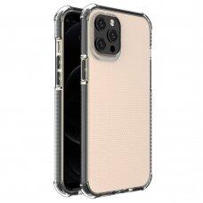 Dėklas Sutvirtintais Kampais Spring Armor clear TPU iPhone 12 Pro Max Juodais Kraštais