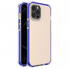 Dėklas Sutvirtintais Kampais Spring Armor clear TPU iPhone 12 Pro Max Mėlynais Kraštais