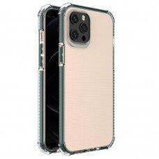Dėklas Sutvirtintais Kampais Spring Armor clear TPU iPhone 12 Pro Max Žaliais Kraštais