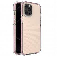 Dėklas Sutvirtintais Kampais Spring Armor clear TPU iPhone 12 Pro Max Rožiniais Kraštais