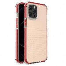 Dėklas Sutvirtintais Kampais Spring Armor clear TPU iPhone 12 Pro Max Raudonais Kraštais