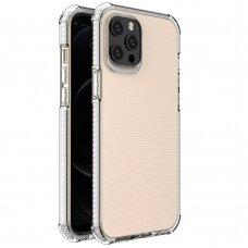 Dėklas Sutvirtintais Kampais Spring Armor clear TPU iPhone 12 Pro Max Baltais Kraštais