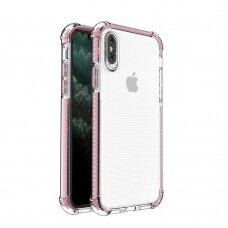 Dėklas Sutvirtintais Kampais Spring Armor clear TPU iPhone SE 2020 / iPhone 8 / iPhone 7 Rožiniais Kraštais