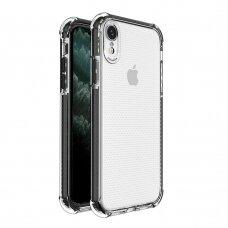 Dėklas Sutvirtintais Kampais Spring Armor clear TPU iPhone XR Juodais Kraštais