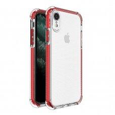 Dėklas Sutvirtintais Kampais Spring Armor clear TPU iPhone XR Raudonais Kraštais