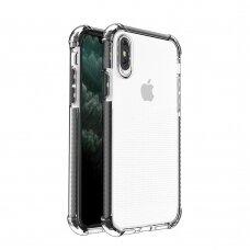 Dėklas Sutvirtintais Kampais Spring Armor clear TPU iPhone XS / iPhone X Juodais Kraštais