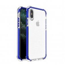 Dėklas Sutvirtintais Kampais Spring Armor clear TPU iPhone XS / iPhone X Mėlynais Kraštais