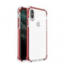 Dėklas Sutvirtintais Kampais Spring Armor clear TPU iPhone XS / iPhone X Raudonais Kraštais