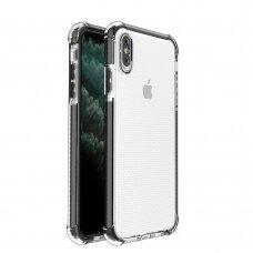 Dėklas Sutvirtintais Kampais Spring Armor clear TPU iPhone XS Max Juodais Kraštais