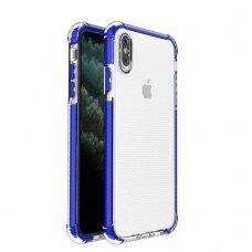 Dėklas Sutvirtintais Kampais Spring Armor clear TPU iPhone XS Max Mėlynais Kraštais