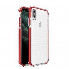 Dėklas Sutvirtintais Kampais Spring Armor clear TPU iPhone XS Max Raudonais Kraštais