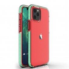 """""""Spring Case"""" Skaidrus Tpu Dėklas Su Spalvotu Rėmu Iphone 12 Mini Mėtinis"""