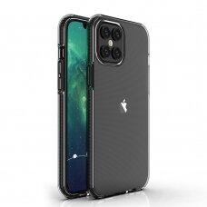 """SKAIDRUS TPU DĖKLAS SU SPALVOTU RĖMU """"SPRING CASE"""" Iphone 12 Pro Max Juodas"""