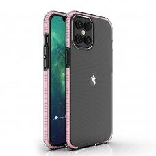"""""""Spring Case"""" Skaidrus Tpu Dėklas Su Spalvotu Rėmu Iphone 12 Pro Max Šviesiai Rožinis"""
