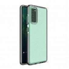 Dėklas Spring Case clear TPU su spalvotu rėmeliu Samsung Galaxy A02s Juodas