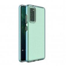 Skaidrus TPU dėklas su spalvotu rėmu Spring Case Samsung Galaxy A02s šviesiai mėlynais kraštais
