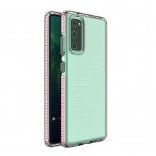Dėklas Spring Case clear TPU su spalvotu rėmeliu Samsung Galaxy A02s Šviesiai rožinis